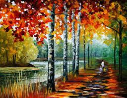 around the bridge u2014 palette knife oil painting on canvas by leonid