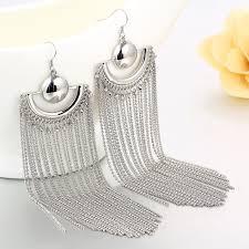 grande earrings gold color chain tassel drop dangle earrings for women big