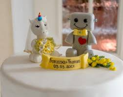 robot and wedding cake topper fantasy cake topper
