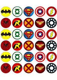 marvel cake toppers 30 x 1 5 logos edible icing cup cake fairy