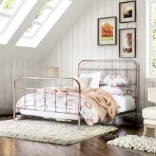 furniture of america melly rose gold metal bed free shipping