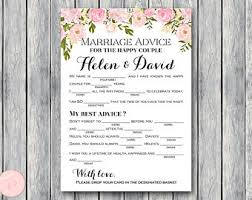 marriage advice cards for wedding wedding mad libs printables marriage advice cards boho