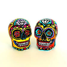 sugar skull cake topper sugar skulls wedding cake topper day of the dead painted ceramic