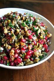 green olive walnut pomegranate salad