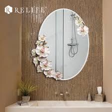 Decorative Mirrors For Bathroom Modern Oval Wall Mirror Bathroom Resin Flowers Decorative Anti Fog
