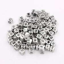 pcs acrylic mixed silver alphabet letter cube beads hole 3 8mm 7x7mm