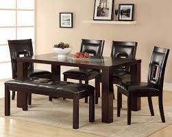dining room set with bench casual dining room design with crackle glass insert espresso