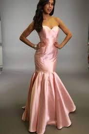 mermaid strapless sweetheart floor length pink satin prom dress
