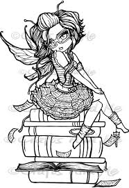 library fairy digital stamp coloring fun pinterest