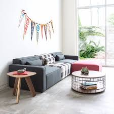 Fabric Sofa Set Simple Flat Pack Design Corner Sofas Pink Grey Colorful Modular