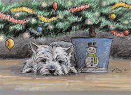 westie in dog horse and country christmas cards