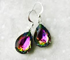 topaz earrings mystic topaz earrings rainbow vitrail teardrops