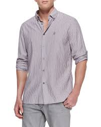 john varvatos striped button down shirt in purple for men lyst