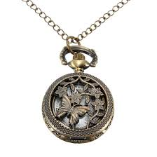 necklace watch images Vintage bronze butterfly style pocket watch pendant necklace jpg