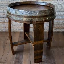 whiskey barrel side table reclaimed wine barrel end side table wine enthusiast
