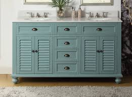 60 inch bathroom vanity coastal cottage beach style blue color 60