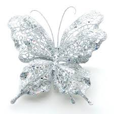 festive clip on glitter butterfly decoration silver charlies