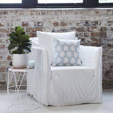 White Armchair Slipcover Bronte Stone Grey Italian Linen Armchair Slip Cover