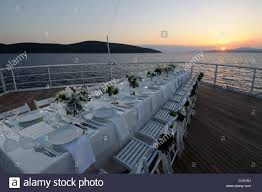 cruise ship weddings wedding table on the deck of luxury cruise ship stock photo