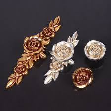 Dresser Knobs Handles Drawer Knobs Pulls Handles Rose Flower Gold - Red kitchen cabinet knobs