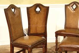 Leather Game Table Chairs Leather Game Chairs With Brass Nails