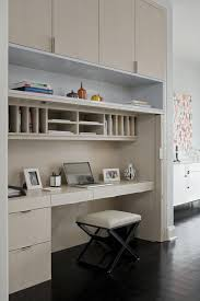 concealed office space with top cabinets and built in desk