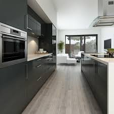 inspiring modern grey kitchen design with wooden floor 2590