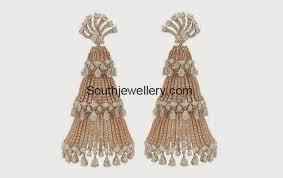 heavy diamond earrings heavy diamond jhumkas designed by manish malhotra jewellery designs