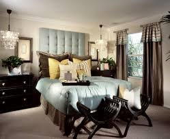 blue and brown guest bedroom interior design window treatments