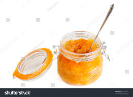 open glass jar delicious apple jam stock photo 627311261
