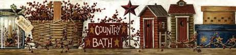 country bath wall paper border outhose barn star baskets primitive