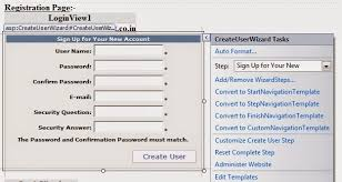 how to implement login controls in asp net application with