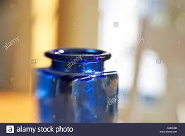 Dark Blue Glass Vase Still Life Top Of Dark Blue Square Glass Vase Selective Focus And