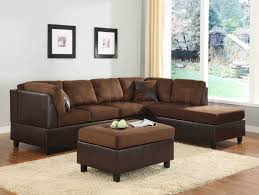 brown sectional sofa decorating ideas a saddle and brown microfiber and faux leather reversible sectional