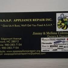 Appliance Business Cards Asap Appliance Repair Appliances U0026 Repair 927 Edgemont Ave