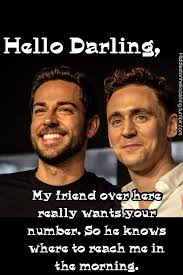 tom hiddleston and zachary levi in the same picture funnies