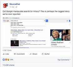 Google Search Meme - google manipulating search results to favor hillary clinton