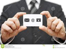 Telephone Icon For Business Card Businessman Hold Business Card With Email Mail Phone Icon Cont