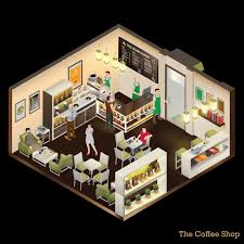 Coffee Shop Floor Plans Isometric Of Coffee Shop Vector Image 1572877 Stockunlimited