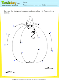 thanksgiving connect the dots by alphabets pumpkin worksheet