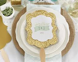wedding fans favors personalized gold glitter fan rustic wedding designs