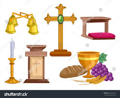 illustration different objects used mass ceremony stock vector