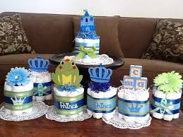Diaper Cake Centerpieces by Little Prince Baby Shower Little Prince Baby Shower Diaper Cakes
