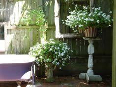 Outdoor Shower Mirror - hidden backyard bathtub for private soak love the pink accents