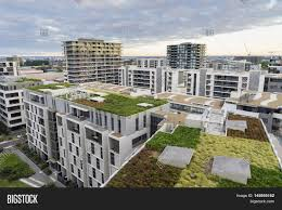 Modern Buildings View Of Green Roof On Modern Buildings And Other Residential