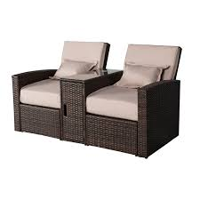 aosom outsunny 3 piece outdoor rattan wicker chaise lounge
