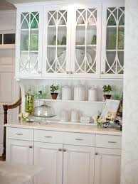 this built in hutch with traditional glass cabinet doors beadboard