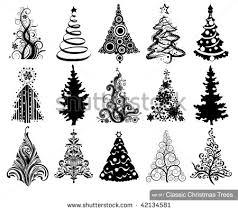 set luxury trees 15 designs stock vector 42134599