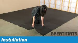 how to install interlocking rubber floor tiles youtube