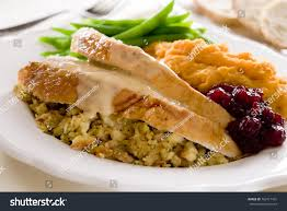 thanksgiving turkey dinners traditional thanksgiving turkey dinner cranberry sauce stock photo